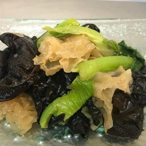 Stried  fried black & white Fungus Kale